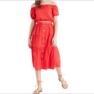 Madewell Bistro Tiered Red Midi Skirt